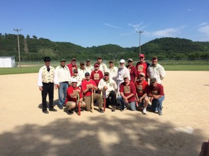 The Driftless Dodgers in Red, Hayseeds in White.